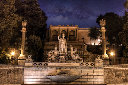 Foto per Fountain of the God of Rome on the est side of Piazza del Popolo under the Pincio park, Rome, Italy.  - Immagine Royalty Free