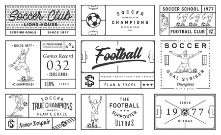 It's a black on white background, vector collection of soccer badges and labels.