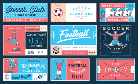 It's a colored vector collection of soccer badges and labels