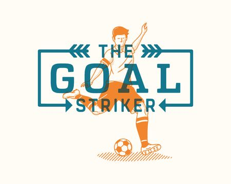 It's a vector illustration about a goal striker and the necessity to never give up.