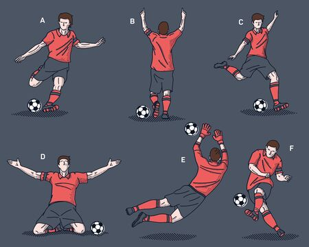 It's a colored vector illustration set of isolated soccer players in different athletic positions