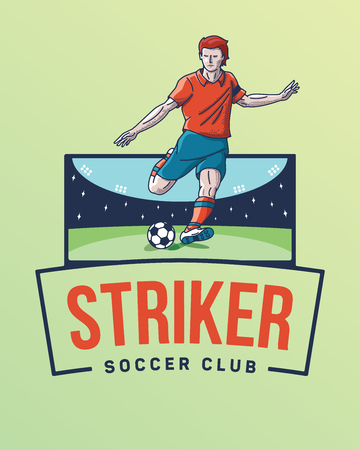 The goal striker is a vector illustration depicting a soccer player ready to kick a ball in goal