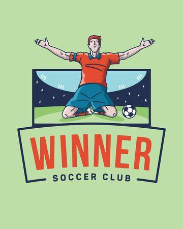 The soccer winner is a vector illustration about a football scorer jubilation after a goal