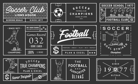 It's a white on black background vector collection of simple football badges and crests
