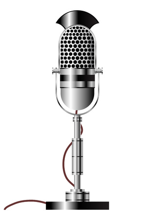 Vintage radio microphone isolated over white background