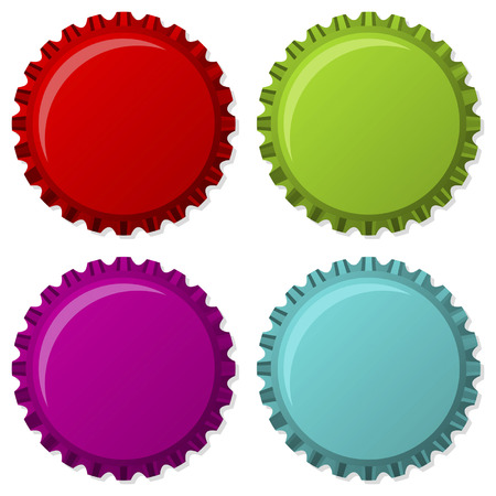 Colorized bottle caps isolated over white background