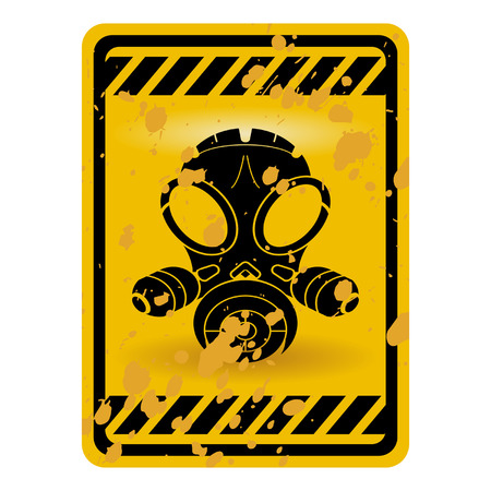 Grunge gas mask warning sign isolated over white