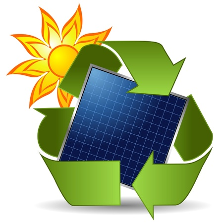 Sun recycle symbol and solar panel over white background