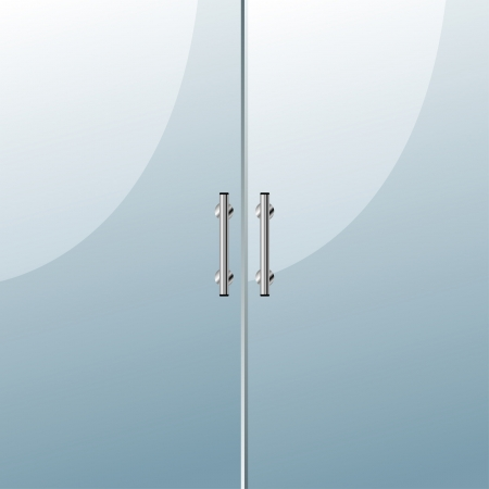 Glass door with chrome silver handles set