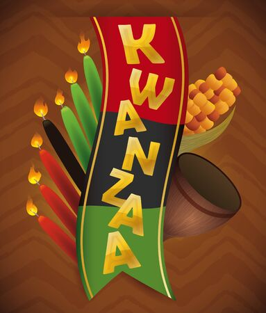 Traditional Kwanzaa design elements in tribal on brown background