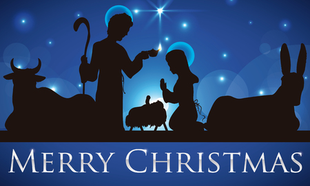 Illustration for Banner with beauty silhouette of the Holy Family and Baby Jesus in the manger with mule and ox in a starry night. - Royalty Free Image
