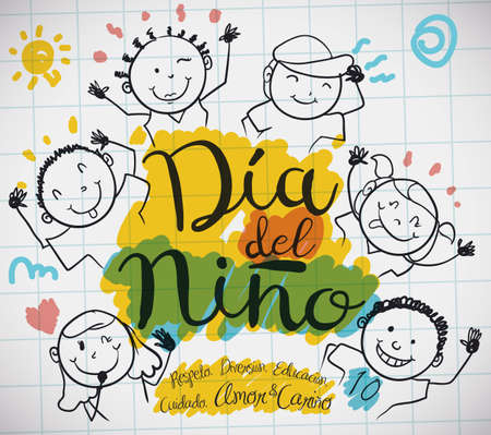 Ilustración de Poster with notebook paper and cute doodle drawing of happy kids and precepts to celebrate Children's Day (written in Spanish). - Imagen libre de derechos