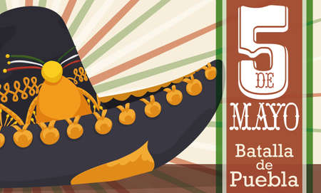 Illustration pour Banner with close up view of charro hat decorated with golden badges and label with Mexican colors for Cinco de Mayo celebration (written in Spanish). - image libre de droit