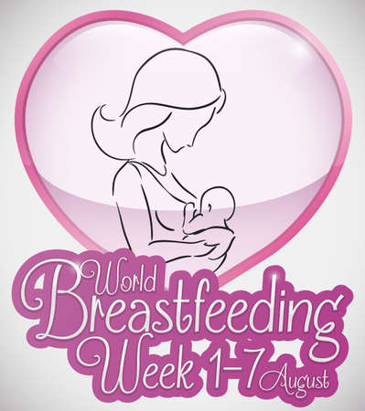 Ilustración de Beautiful outline silhouette design with loving mom breastfeeding her baby inside a heart shape for World Breastfeeding Week. - Imagen libre de derechos