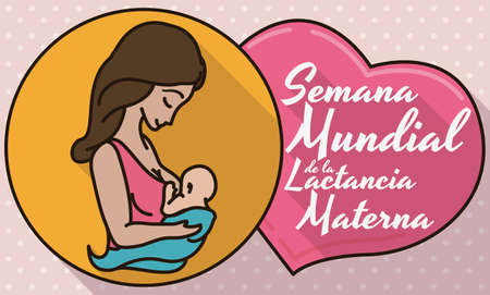 Ilustración de Commemorative design in flat style, outline and long shadow with medal, mom and baby inside of it, close to a pink heart with greeting message for World Breastfeeding Week (written in Spanish). - Imagen libre de derechos