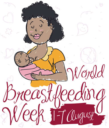 Ilustración de Commemorative poster with smiling brunette mom breastfeeding her baby in doodle style for World Breastfeeding Week event. - Imagen libre de derechos