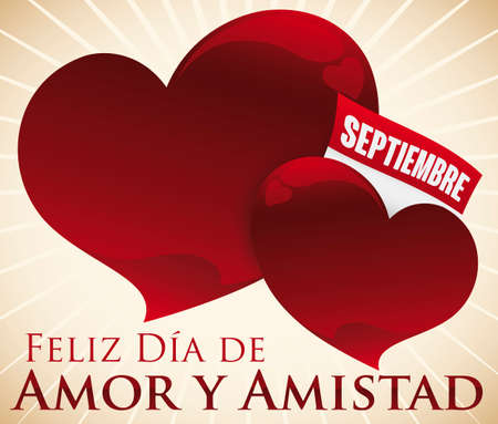 Ilustración de Glossy red hearts with loose-leaf calendar promoting September to celebrate the Colombian Day of Love and Friendship (written in Spanish), equivalent to Valentine's Day. - Imagen libre de derechos