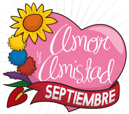 Ilustración de Beautiful flower set with the colors of the Colombian flag in the pompoms, pink heart and ribbon to celebrate Love and Friendship Day (written in Spanish) in September. - Imagen libre de derechos