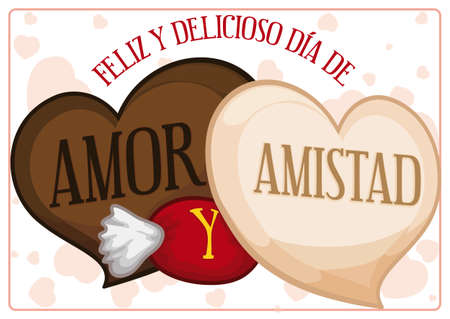 Ilustración de Delicious chocolates with heart shape and candy with greeting message to celebrate a happy Love and Friendship Day (written in Spanish). - Imagen libre de derechos