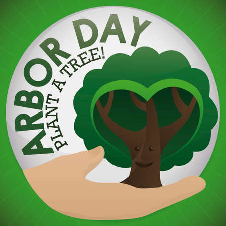 Ilustración de Round button with a hand holding a cute, smiling tree with heart shaped foliage, promoting tree plantation to celebrate Arbor Day. - Imagen libre de derechos