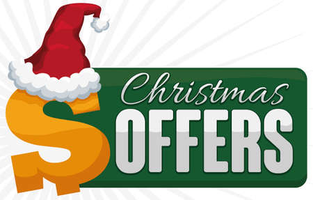 Ilustración de Banner with green sign and money symbol with traditional red Santa's hat announcing Christmas offers. - Imagen libre de derechos