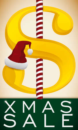 Ilustración de Golden money symbol with sugar cane in middle of it and a Santa's hat representing the Xmas sales season. - Imagen libre de derechos