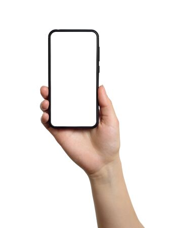 Photo pour Woman hand holds smartphone with white screen. Isolated object on white background - image libre de droit