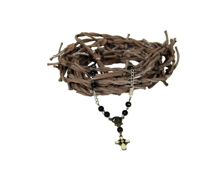Crown of thorns and rosary beads used for prayer in the Cathoic faith