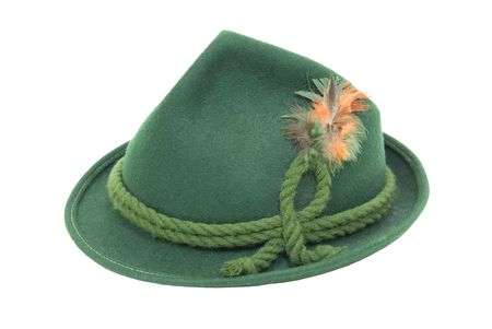 Traditional green felt German alpine hat with rope twists and bright feathers