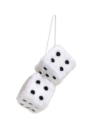 Fuzzy dice that are usually hung from the rear view mirror of a car