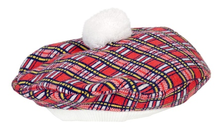 Colorful red and black plaid Beret that wears tight to the head - path included