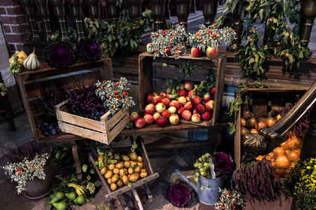 different agricultural products in a colorful composition, potatoes, apples, pumpkins, tomatoes, and vegetables with their boxesの写真素材