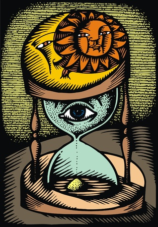 illustration of the time with human eye