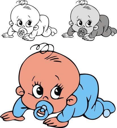 Illustration for illustrated small baby  in three color versions - Royalty Free Image