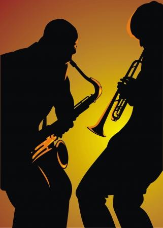 two jazz man isolated on the orange background