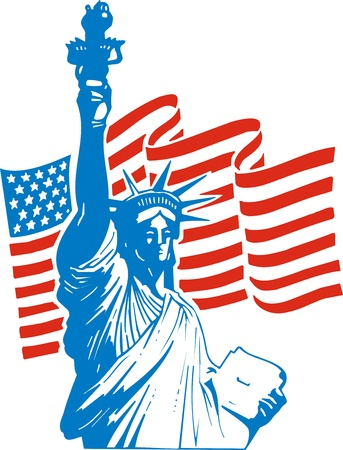 statue of freedom and usa flag as national background