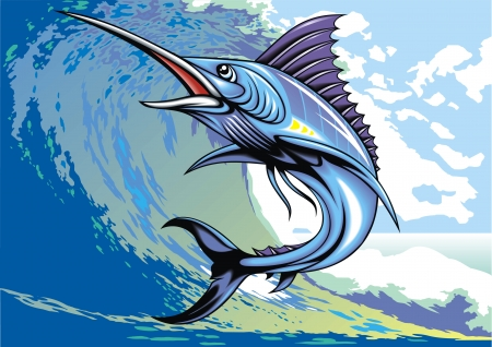 illustrated nice marlin fish as interesting background