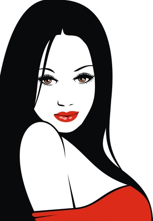 easy woman face with red lips and black hair as nice fashion background