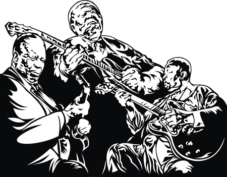 jazz musicians - black and white music background with people