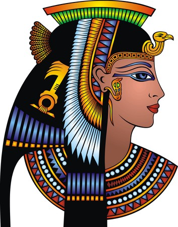Illustration pour detail of cleopatra head isolated on the white background - image libre de droit