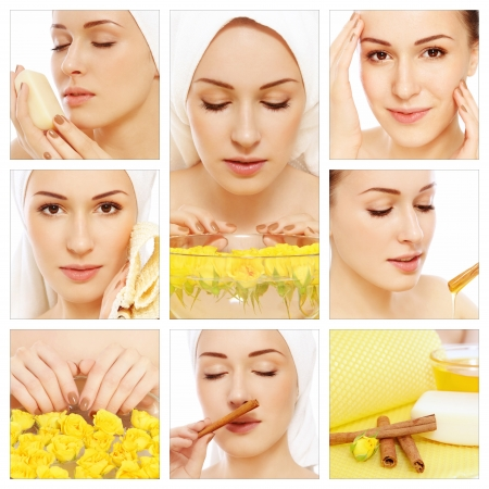 Collage with young beautiful happy healthy woman having spa treatment. Beauty, hygiene and skin care