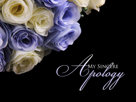 Photo pour My Sincere Apology. Graceful apology card design with image of white and purple roses on top left, over black background - image libre de droit