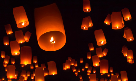 Photo for Floating lanterns over the night sky background - Royalty Free Image