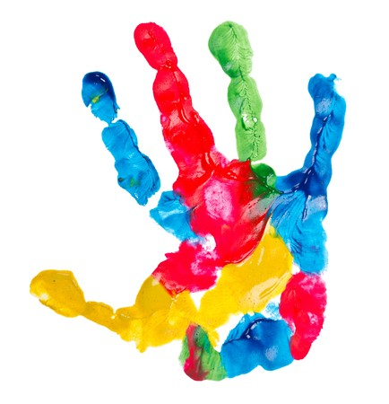 Photo for color child hand print, isolated on white - Royalty Free Image
