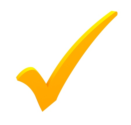yellow check mark on white background