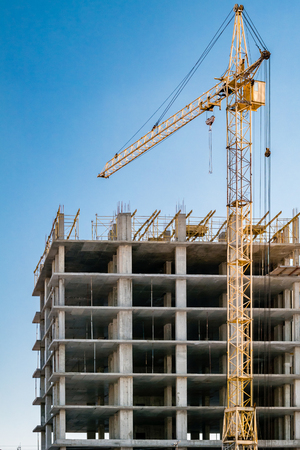 Photo for Building under construction and crane. - Royalty Free Image