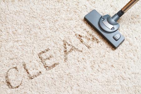 Photo pour include the long beige carpet cleaning with a vacuum cleaner - image libre de droit