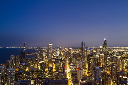 Photo for Beautiful skyline of Chicago downtown at night, USA - Royalty Free Image