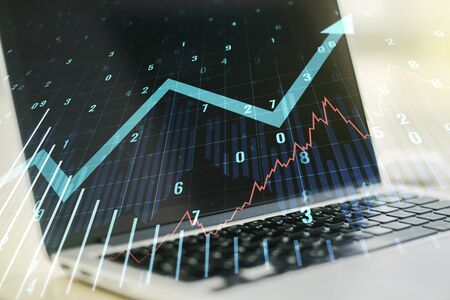 Photo for Multi exposure of abstract financial graph with upward arrow on modern computer background, financial and trading concept - Royalty Free Image