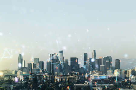 Photo pour Abstract virtual wireless technology hologram on Los Angeles cityscape background, artificial intelligence and machine learning concept. Multi exposure - image libre de droit